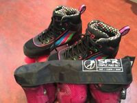 Roller boots ladies size 5 with complete set of elbow, knee and wrist pads
