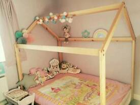 Toddler wooden house bed
