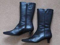 Ladies Black Leather Ecco Boots