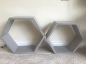Grey hexagonal wall shelves shelf storage x2