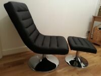 Leather look chair with footstool. Lovely small brown light swivel chair in excellent condition.