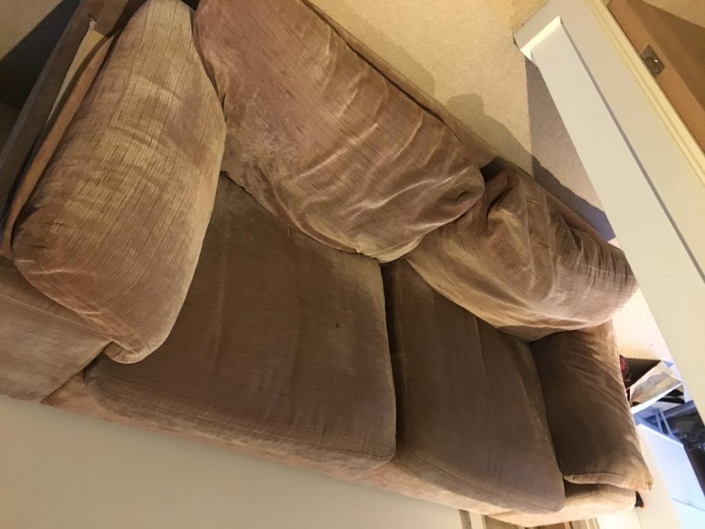 Brown fabric sofa (free)