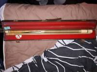 Pool cue with chalk