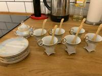 Vintage shabby chic pastel and gold complete tea / coffee china set