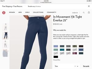 Awesome Deal on Lululemon In Movement 7/8 Tight, Sz 6, Blue, New