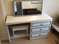 Dressing table, mirror and stool