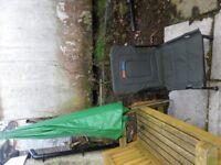 Adjustable LEDA fishing seat and large fishing umbrella