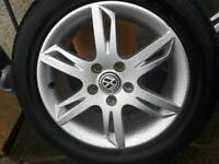 """Golf Mk 5 2010 16"""" Alloy wheels 5x112 with tyres."""