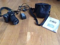 Nikon D80 SLR camera with zoom lens and case