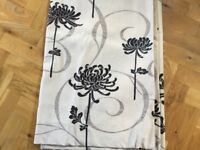 Two pairs lined heavy linen curtains, bold modern pattern, eyelet tops, very good condition
