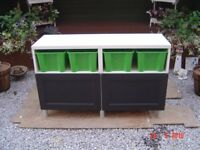 Ikea Besta Storage Unit. With a Lower Cupboard and an Open Space with Four Storage Boxes Can Deliver