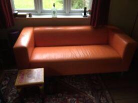Bright Orange PU Leather Sofa - sadly has to go!