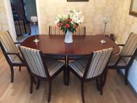 Mahogany dining room table, 4 chairs and 2 carvers including unit and a nest of tables