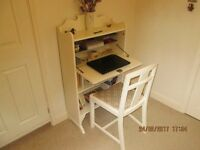 BUREAU WRITING DESK AND CHAIR PAINTED LAURA ASHLEY COUNTRY WHITE