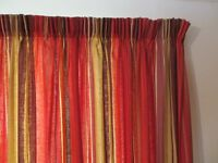 MASKREYS AUTUMNAL COLOURED STRIPED CURTAINS WITH 3 MATCHING CUSHIONS AND FREE SMALLER CURTAINS