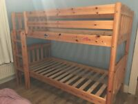 Bunk Beds in Solid Pine -Superb condition; strong, sturdy, no marks, clean up to 13 years age
