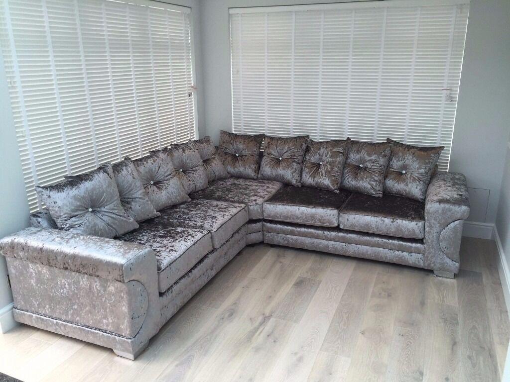 Brand New Silver Crushed Velvet Corner Sofa Corner Suite