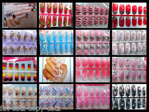 12x-PAINTED-3D-FULL-FALSE-FRENCH-NAILS-MULTIPLE-DESIGNS-SIZES-FREE-GLUE-UKSELL