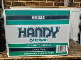 Wholesale box of 2000 White Napkins 33cm x33cm 2 ply