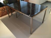 Black Glass Dining Table with chrome legs (6 chairs additional)