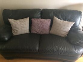 Black leather sofa and 2 chairs