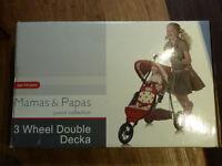 Brand New & Boxed Mamas & Papas Twin 3 wheel double decker Dolls Pram Pushchair