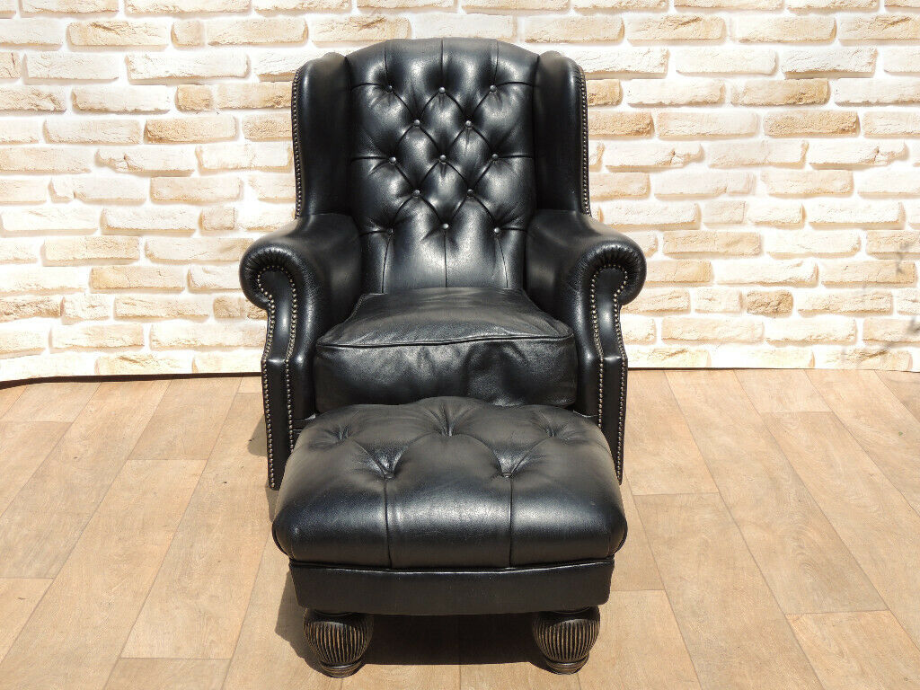 Tetrad Armchair + Footstool Leather Black (UK Delivery ...