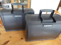 2 black plastic document storage cabinets in good condition