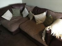 DFS corner sofa in brown suede and fabric. Like new hardly used.