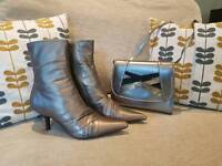 Size 4 Faith Boots metallic dark gold with matching bag