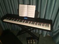 Digital Piano P-65 c/w stool, X stand, headphones & 3-pedal-box