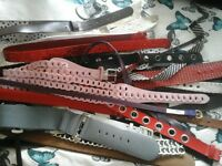 asortment of styles, colours, materials. ladies fashion belts.