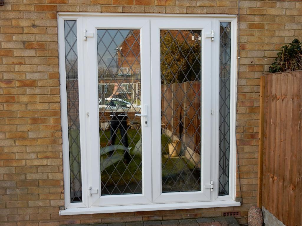 Anglian Double Glazed French Doors With Cross Pattern Leaded Light