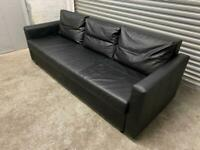 FREE DELIVERY IKEA FRIHETEN BLACK LEATHER 3 SEATER SOFA BED GREAT CONDITION