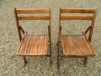 2 MORE VINTAGE FOLDING CHAIRS. Similar available , also church pews , pine benches & chapel chairs.