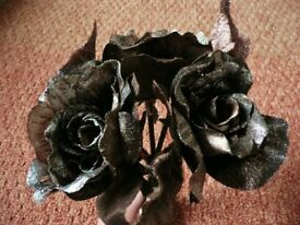 3 Brown and Silver Fabric Artificial Roses / Flowers for Artificial Flower Arrangment or Crafts