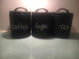 Coffee, tea, sugar ceramic storage jars
