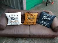 Natuzzi brown suede sofa