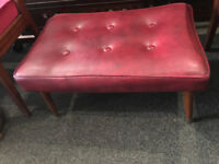 Gorgeous Vintage Retro 60's Red leatherette Footstool On Dansette Legs