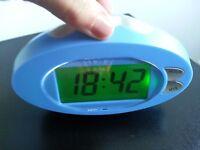 Blue digital clock with alarm