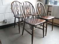 SET OF FOUR ERCOL FLEUR DE LIS DINING CHAIRS FREE DELIVERY