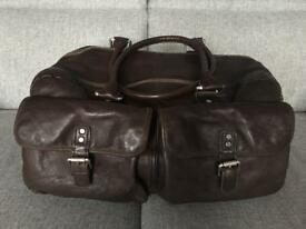 Kenneth Cole double zip brown leather duffle travel bag