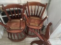 Mahogany oak wood table set with x 4 chairs for collection only