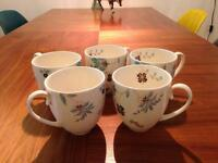 5 x Monsoon Denby floral mugs