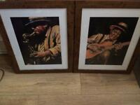 2 x Quality Wooden Framed Paintings - Jazz player - Very nice! Perfect condition! Good size!