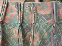 Triple pleat trellis design lined curtains