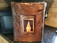 Faux Silk Lined Chocolate Curtains 66 x 90 inch x 2 pairs