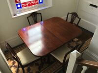 Mahogany Extendable Table and Four Chairs