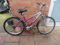 ladies raleigh mountain bike 16 inch frame with lock and lights £45.00