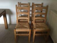 4 rush seat chairs